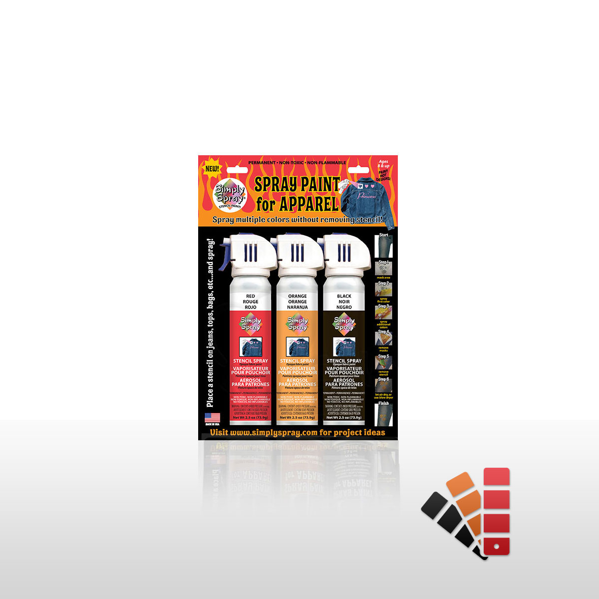 Flame Fabric Spray Paint Multipack